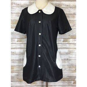 Vintage Black & White Contrast 60s Mod Tunic Dress